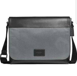 Coach Mens Nylon and Leather Messenger Tote Bag -